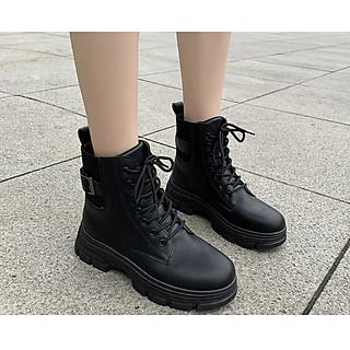 Giầy Boot nữ, kiểu dáng buộc dây độn đế 5p kiểu dáng và phong cách cá tính