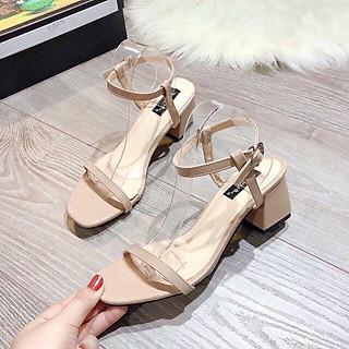 Giày sandal gót vuông nữ, giày cao gót quai ngang, mũi vuông, hở mũi gót cao 5p, form chuẩn màu kem