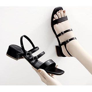 Giày Sandal Gót 3p Nhiều Dây Sang Chảnh (Chất Da Mềm)