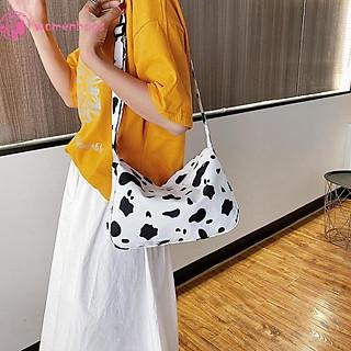 Túi đeo chéo in họa tiết da bò sữa kích thước lớn bằng nylon chống thấm nước thời trang cho nữ
