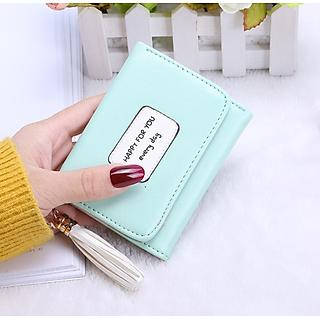 Bóp ví nữ đựng tiền mini gấp 3 bỏ túi giá siêu rẻ, da PU mềm mại, nhiều ngăn chứa thẻ ATM và tiền tiện dụng nhỏ gọn Tua Rua Mini Clutch Kiểu Dáng Hàn Quốc