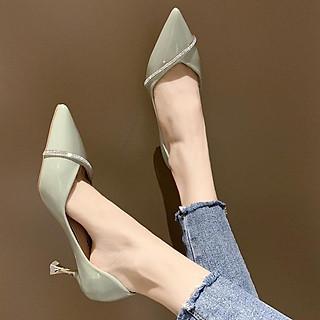 Giày Sandal Cao Gót Hàn Quốc Đẹp Cao Cấp sang chảnh da mềm đính đá Z03#