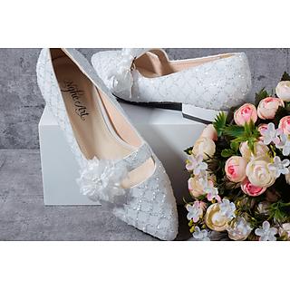 Giày cưới nữ Nghé Art búp bê ren trắng 187