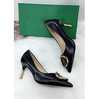 Giày cao gót bít mũi, cao 7cm gót nhập phối khoá da mềm MT46