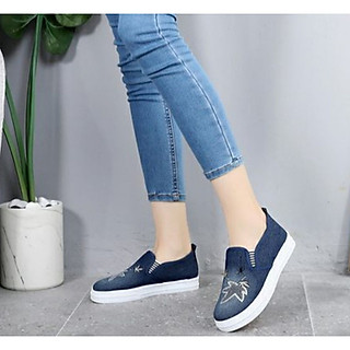 Giày lười nữ vải jean đế cao 2p