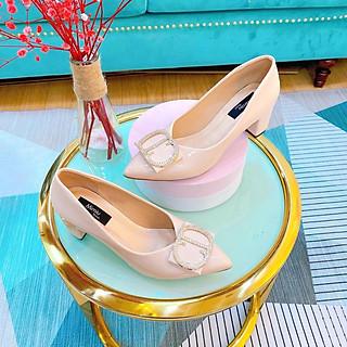 Giày búp bê nữ thời trang da bóng, giày cao gót mũi nhọn gót vuông cao 5p form chuẩn màu kem