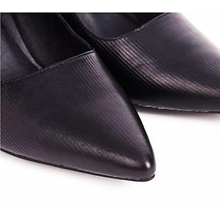 Giày công sở gót vuông 7 cm mũi nhọn cao cấp da thật hiệu Edison Michael SANA01