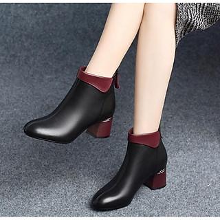 Giày Bốt Nữ Đế Vuông Da PU 5cm Đế Vuông H57