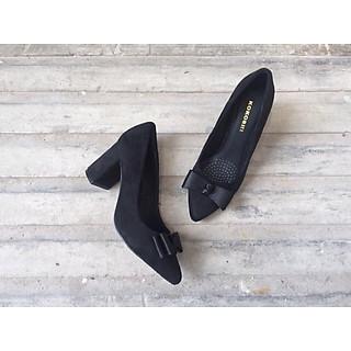 Giày Cao Gót Da Lộn Gót Cao 5cm đính nơ
