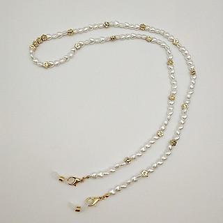 dây đeo khẩu trang, Dây đeo kính thời trang chống rơi rớt, 2 trong 1, dây hạt nhựa trắng sang trọng