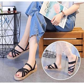 [SALE] CS1_Dép nữ sandal quai chéo đế giả cói vintage siêu mềm êm chân