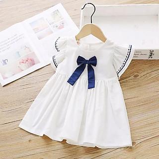 Đầm cotton cánh tiên dáng xòe phối nơ đáng yêu cho bé gái 3-8 tuổi – D032