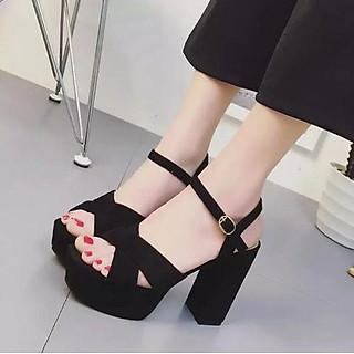 Giày nữ, giày cao gót da nhung mềm mịn quai cài ngang, đế vuông lớn cao 12 cm màu đen phong cách cá tính cho các cô nàng YNCG65