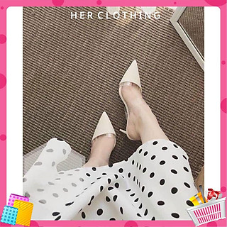 Giày cao gót nữ bản cực xinh cao 7cm màu trắng công chúa mũi nhọn da xịn sò