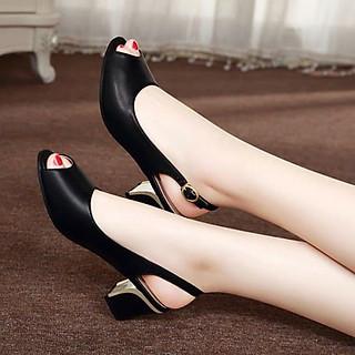Giày cao gót 5cm hở gót thanh lịch cho nữ