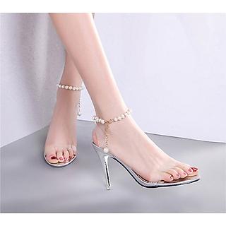 Giày Nữ Cao Gót Đẹp Bản Ngang Trong Suốt Êm Chân Gót Nhọn 8 phân - 8cm Vòng Chuỗi Hạt Kiểu Dáng Hàn Quốc CTS-CG