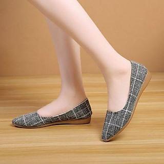 Giày búp bê nữ đế 2p kẻ caro kiểu dáng đơn giản da mềm êm chân OD19