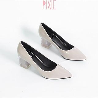 Giày Cao Gót 5cm Da Bóng Mũi Nhọn Đế Vuông Phối Mica Pixie P006