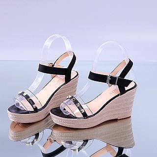 Giày Đế Xuồng Sandal Cao Gót Nữ Đẹp Siêu Nhẹ Cao 9P Bản Trong Suốt Phối Da Đính Đinh Êm Chân CTS-CG