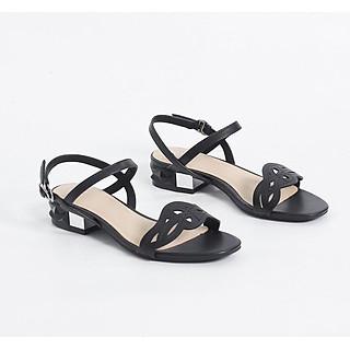Giày Sandal 3cm Đế Vuông Quai Cut-out Màu Đen Pixie X459