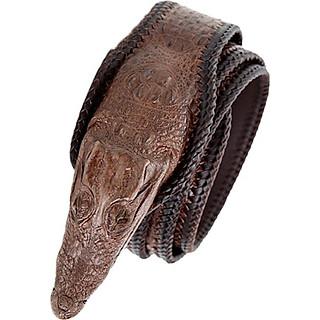 Thắt lưng nam da cá sấu Huy Hoàng nguyên con lớn đầu cá sấu màu nâu đất HT4255