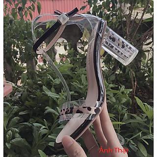 Giày Cao Gót Sandal Quai Ngang Phối Trong Suốt Thời Trang Kèm Tất/Vớ Da Chân