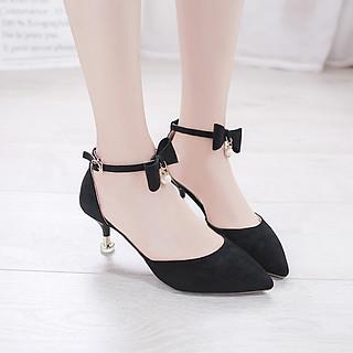 Giày Cao Gót Nữ Đẹp 5 Phân Da Lộn Bít Đầu Mũi Nhọn Phối Nơ Ngọc Phong Cách Hàn Quốc.