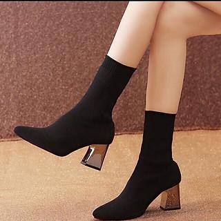 Boots Nữ Cổ Lửng Gót Tráng Gương Sang Chảnh Kèm Tất/Vớ Da Chân