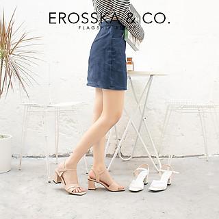 Giày sandal cao gót Erosska thời trang mũi vuông quai ngang bắt chéo cao 7cm EB020