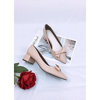 Giày cao gót nơ da mềm cao cấp trụ 4cm màu kem