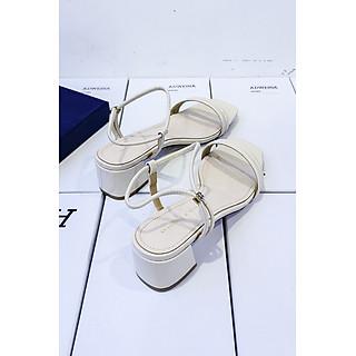 Giày Sandal Cao Gót Nữ Gót Vuông 5p Quai Xỏ