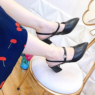 Giày sandal cao gót nữ da mềm, giày cao gót quai ngang thời trang mũi nhọn đế hình trụ cao 5p form chuẩn màu đen