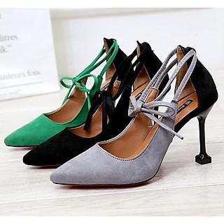 Giày sandal cao gót 9 phân buộc dây nơ