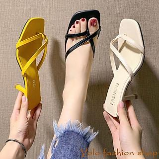 Sandal nữ thời trang gót nhọn 7cm quai mảnh xinh xắn hàng Quảng Châu cao cấp CC04