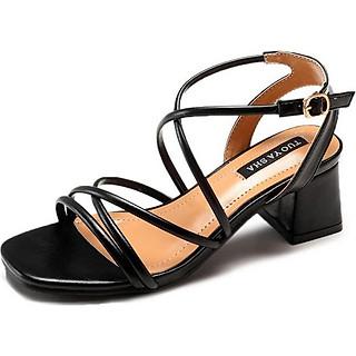 Giày cao đế bằng dây đan chéo thanh lịch-109 Đen