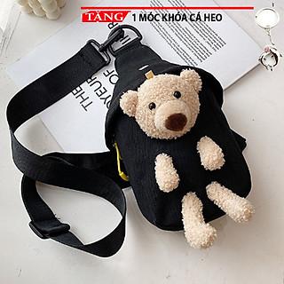 Túi Đeo chéo Gấu giấu trong đáng yêu nhiều màu SS4  Tặng móc khóa cá heo