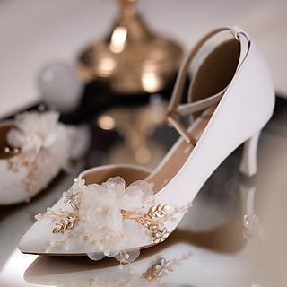 Giày cưới Nghé Art khoét eo đính hoạ tiết hoa 288