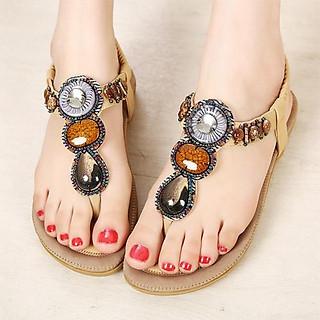 Giày Sandal Quai Kẹp Đính Đá Thổ Cẩm - 15LA
