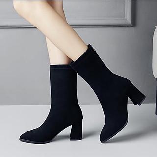Giày Bốt Nữ Đế Vuông Da Lộn  5cm Mũi Nhọn Hàn Quốc BTF888