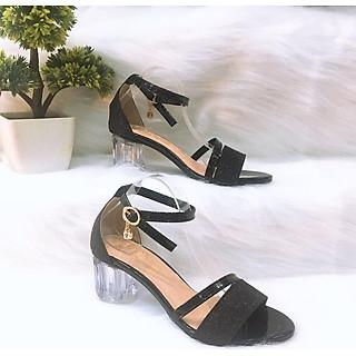 Sandal/ Giày Nữ, Giày Cao Gót Nữ Thời Trang Phong Cách Hàn Quốc Kim Tuyến Nhũ Phối Dây Chéo Da Bóng Bản Nhỏ Quai Cài Ngang Đế Vuông Trong Suốt  Cao 5 Cm, 5 Phân  YNCG-PN105