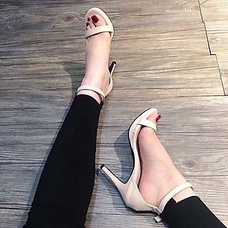Giày Sandal Cao Gót Quai Mảnh Đế Đúp 11p Siêu Sang Kèm Tất/Vớ Da Chân
