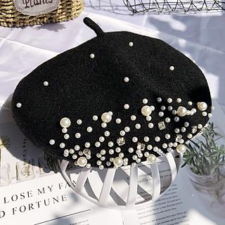 Mũ nồi dạ dày dặn đính hạt chắc chắn túi zip có dây rút bên trong mũ