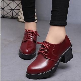 Giày bốt nữ, boots đế thô 8 phân cột dây cổ ngắn S299