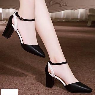 Giày cao gót / Sandal Cao Gót Da Nữ Cao Cấp Phối Màu Đế Vuông Cao 7p- CTG8508