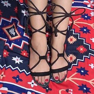 Giày Sandal Quai Chéo Cột Dây Tua Rua TAS33