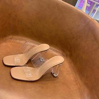 Giày cao gót trong suốt 2 quai trong sành điệu E130