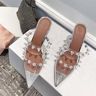 Giày cao gót nữ bít mũi trong suốt đính đá gót kiểu - Giày nữ gót cao 10cm - Linus LN269