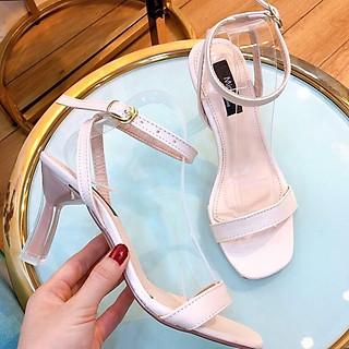 Giày cao gót nữ, sandal giày cao gót hở mũi, gót cao 7p chuẩn size 35-40 màu đen và kem