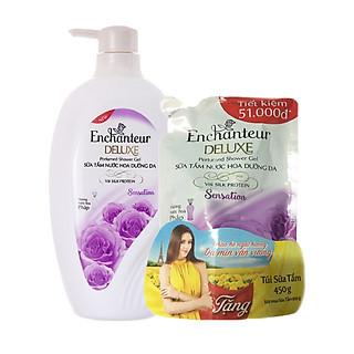 Sữa Tắm Nước hoa dưỡng da Enchanteur Sensation 900ml tặng túi sữa tắm Sensation 450g