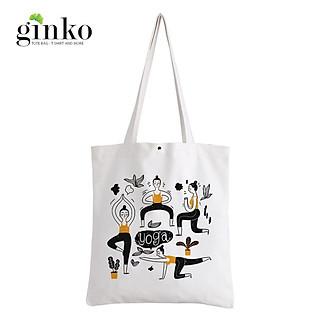 Túi Vải Tote GINKO Kiểu Basic Nút Bấm In Hình Yoga G204